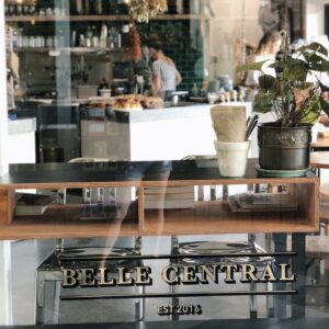 Looking into front window of Belle Central Cafe, Ballina