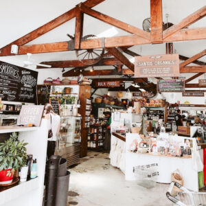 Inside the store showing different displays at Santos Organics Warehouse, Byron Bay