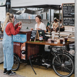 Front of market stand of No Filter Cold Brew Coffee
